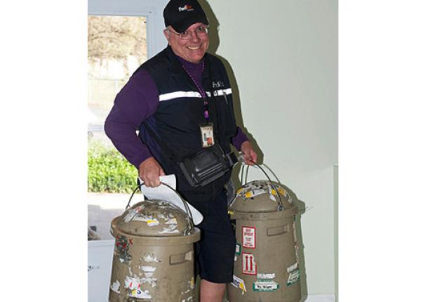 Fed EX Man Picking Up Semen